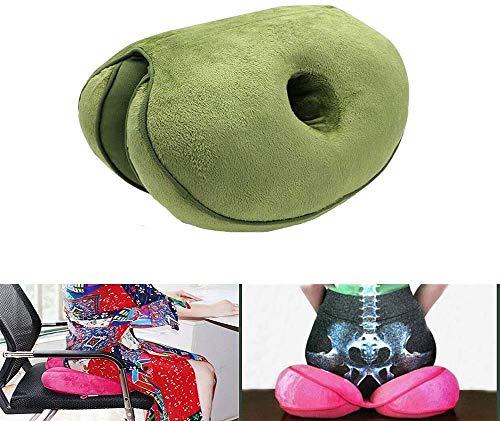 Dual Comfort Cushion Lift Hips Up Sitzkissen, Lift Hips Up Sitzkissen, Orthopädisches Memory Foam Stützkissen für Ischias, Steißbein und Hüfte Druckentlastung auf dem Rücken (Grün)