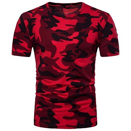 Herren Shirts,Frashing Herren Casual Camouflage Print O-Ausschnitt Pullover T-Shirt Top Bluse Herren T-Shirt mit Rundhalsausschnitt Army Military Bundeswehr T-Shirt (M, rot)