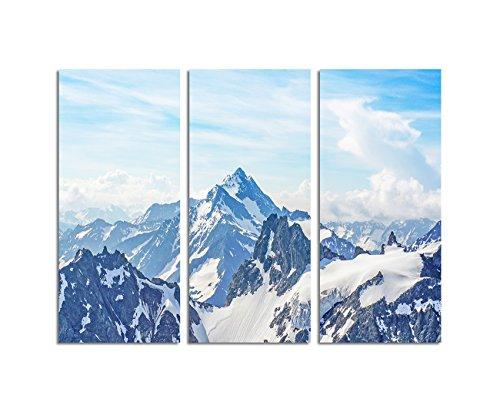 130x90cm – Keilrahmenbild Alpenpanorama schneebedeckte Berge 3teiliges Wandbild auf Leinwand und Keilrahmen - Fotobild Kunstdruck Artprint