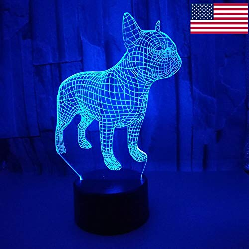 Wfmhra Frence Bulldog 3D Lámpara de Mesa LED Colorido Perro Nightlight Niños Regalo de cumpleaños V USB Sleep Lighting Home Decor USA