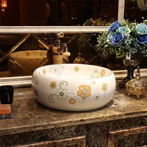 RANRANJJ Badezimmer-Behälter-Wannen-Runde über Gegen Kreis Keramik Aufsatz- Sink for Cabinet Toilette Vanity