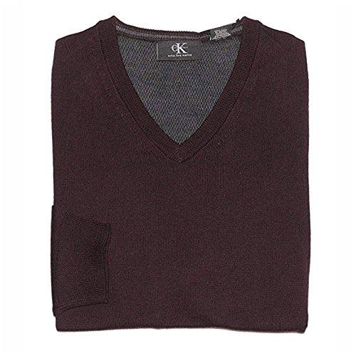 Calvin Klein Men's V-Neck Merino Wool Sweater (X-Large, Dark Chestnut)