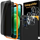 [2+2 Pack] UniqueMe Tempered Glass Compatible with iPhone 12 Pro Max 6.7' Privacy Screen Protector and Camera lens Protector, Anti Spy [Easy Installation Frame] [Precise Cutout] Bubble Free