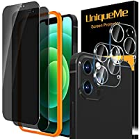 "[iPhone 12 Pro Max 6.7inch] Including 2 pack tempered glass privacy screen protector and 2 pack camera lens protector.Not fit for iPhone 12 6.1"". [Privacy Protection] Made from the high quality privacy tempered-glass,screen is only visible to persons..."