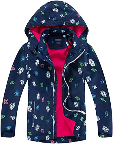 FAIRYRAIN Kinder Mädchen Jacke mit Fleecefütterung Übergangsjacke Winddicht Regenjacke Softshelljacken Kapuzenjacke Wanderjacke Outdoorjacke (Marine-F, 104-110)