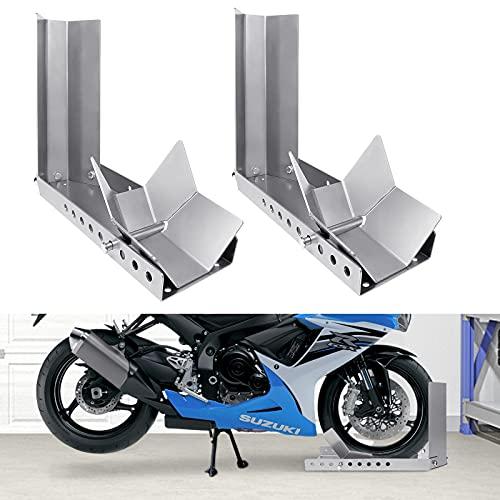 HENGMEI Verladehilfe Schiene Motorradwippe Motorrad vorne Vorderradklemme Radwippe Motorradständer für 60-145cm Radbreite (2 Stücke)