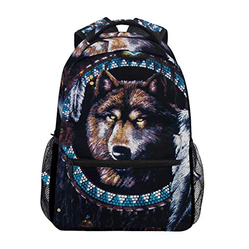 Native American Wolf Backpacks Travel Laptop Daypack School Bags for Teens Men Women