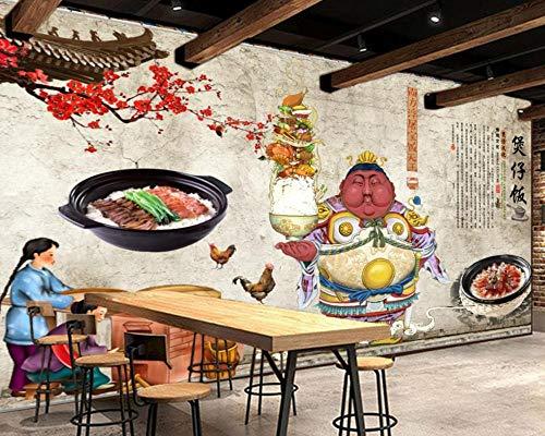XQFZXQ Wandgemälde Graues Retro-Tontopf-Restaurant 3D Modern Kunst Hintergrund Dekoration PVC Selbstklebend Jahrgang Fitnessstudio Yoga-Studios Bar Produkt Thema Industrieller Wind Hin(B)500x(H)375cm