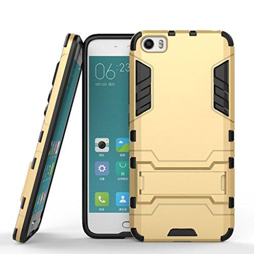Funda para Xiaomi Mi 5 (5,15 Pulgadas) 2 en 1 Híbrida Rugged Armor Case Choque Absorción Protección Dual Layer Bumper Carcasa con Pata de Cabra (Dorado)