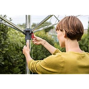Vileda Sunshine Premium Wäschespinne, höhenverstellbar von 1,60 m bis 1,90 m, 40 m Leinenlänge, silber