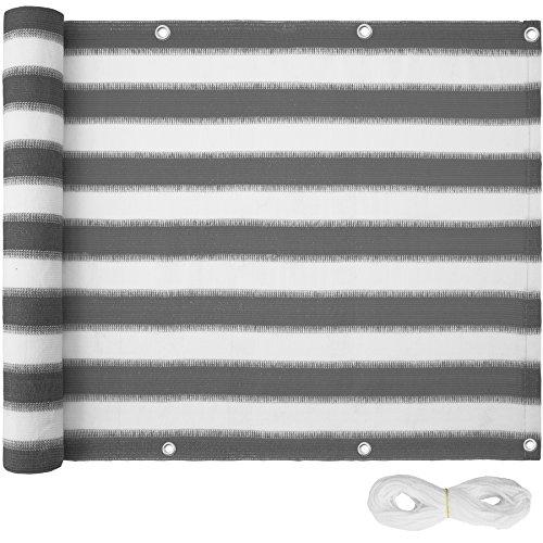 TecTake Balkon-Sichtschutz | Balkonbespannung | Witterungsbeständig und Wasserabweisend Größen (Grau-Weiß | 600x75 cm | no. 402879)