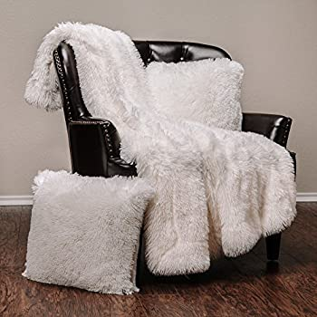 Chanasya Fuzzy Shaggy Faux Fur Throw Blanket and Pillow Cover 3-Piece Set - Lightweight Plush Sherpa Throw  50x65 Inches  and 2 Matching Throw Pillow Covers  18x18 Inches  for Bed Couch - White