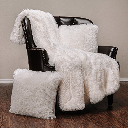Chanasya 3-Piece Shaggy Throw Blanket Pillow Cover Set - Chic Fuzzy Faux Fur Sherpa Throw (50x65 Inches) 2 Throw Pillow Covers (18x18 Inches) for Bed Couch - White