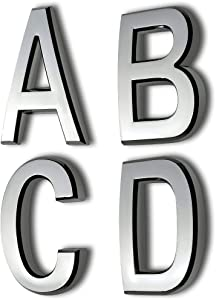 Self Adhesive Mailbox Letters A B C D, 2 Inch Silver Door Address Alphabet Letter Stcikers,Pack of 4 Pcs.(2 INCH ABCD, Silver)