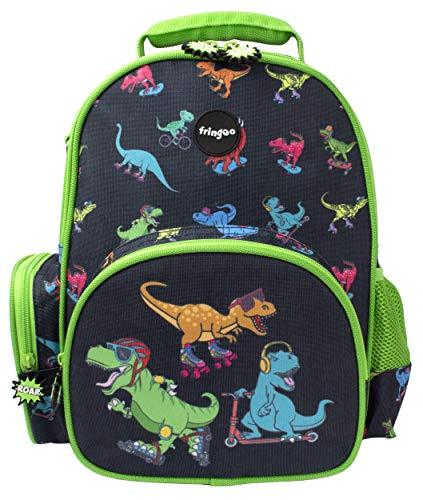 Fringoo - Mochila para Chicos | Diseñada para Niños y Chiquillos Escuela o la Guardería | Lavable - Dinosaurios Skaters