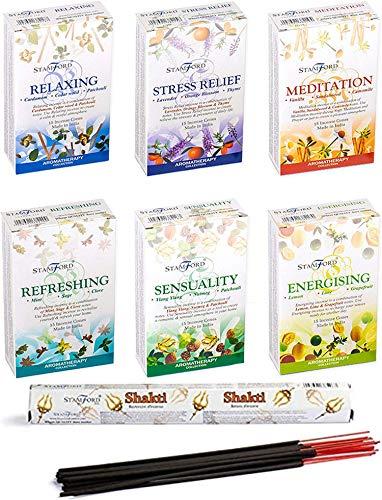 Giftbrit Stamford - Conos de incienso para aromaterapia (6 unidades, con varilla de incienso Shakti, ideal para purificación, relajación, positividad, yoga, meditación