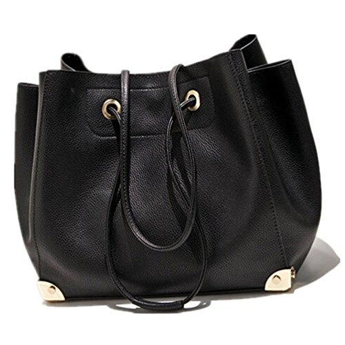 Santwo da donna con lacci in piccola cinghia a tracolla, maniglia superiore borsa set, Black (Argento) - BB0090