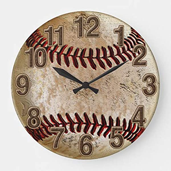 Cool Stone Look Vintage Baseball Large Wall Clock Decor For Bedroom Nursery Round Silent Wood Clock Art For Kids Girls Boys Room 16 Inches