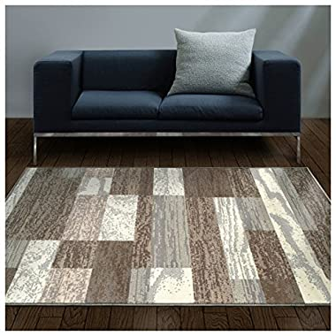 Superior Modern Rockwood Collection Area Rug, 8mm Pile Height with Jute Backing, Textured Geometric Brick Design, Anti-Static, Water-Repellent Rugs - Light Blue & Ivory, 5' x 8' Rug
