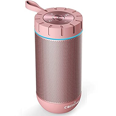 COMISO Waterproof Bluetooth Speakers Outdoor Wireless Portable Speaker 24 Hours Playtime Superior Sound Camping, Beach, Sports, Pool Party, Shower (Rose Gold)