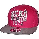 Ecko Unlimited 1972 Snapback gorras, Retro Bling Flat Peak ajustable gorra de béisbol unisex rosa/gris Taille unique