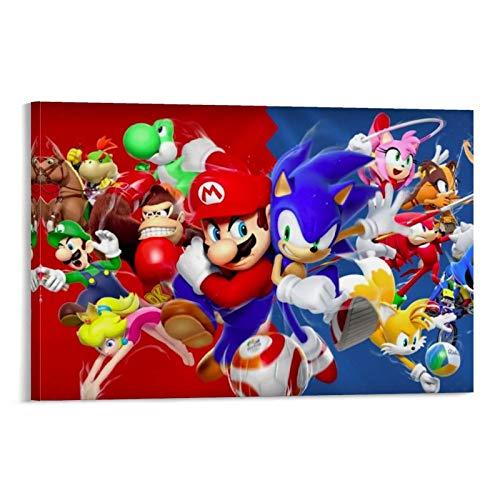 DRAGON VINES Póster de Super Mario Sonic The Hedgehog Collision para pared, impresión sobre lienzo, arte moderno en la sala de estar, dormitorio, listo para colgar, 20 x 30 cm