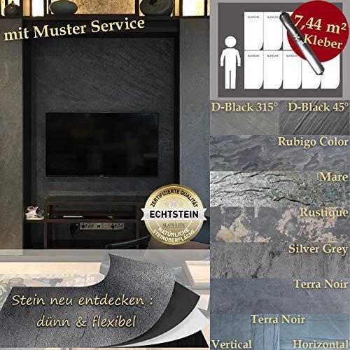 Wandverkleidung Schiefer Verblender Naturstein Steinwand - 7,44 m² KOMPLETT SET Terra Noir Horizontal Schiefer-Platten + Kleber