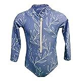Camiseta de una pieza para niña, protección UV UPF50 + ecológica, flores Bleu Clair/ Fleurs 12 meses