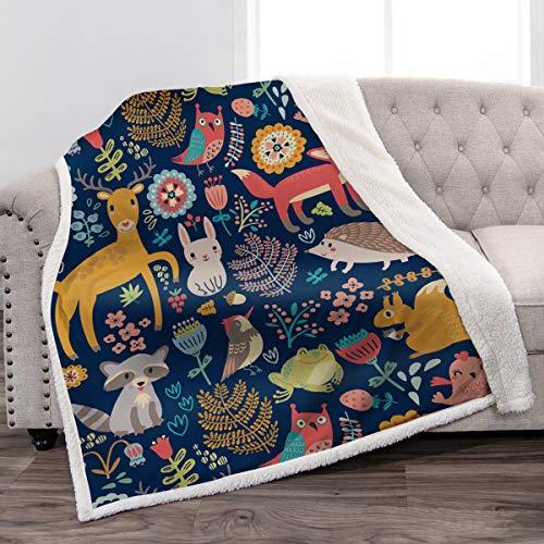 Jekeno Sherpa manta de impresión suave y suave manta para niños para sofá, silla, cama, oficina, viajes, camping, 127 x 152 cm