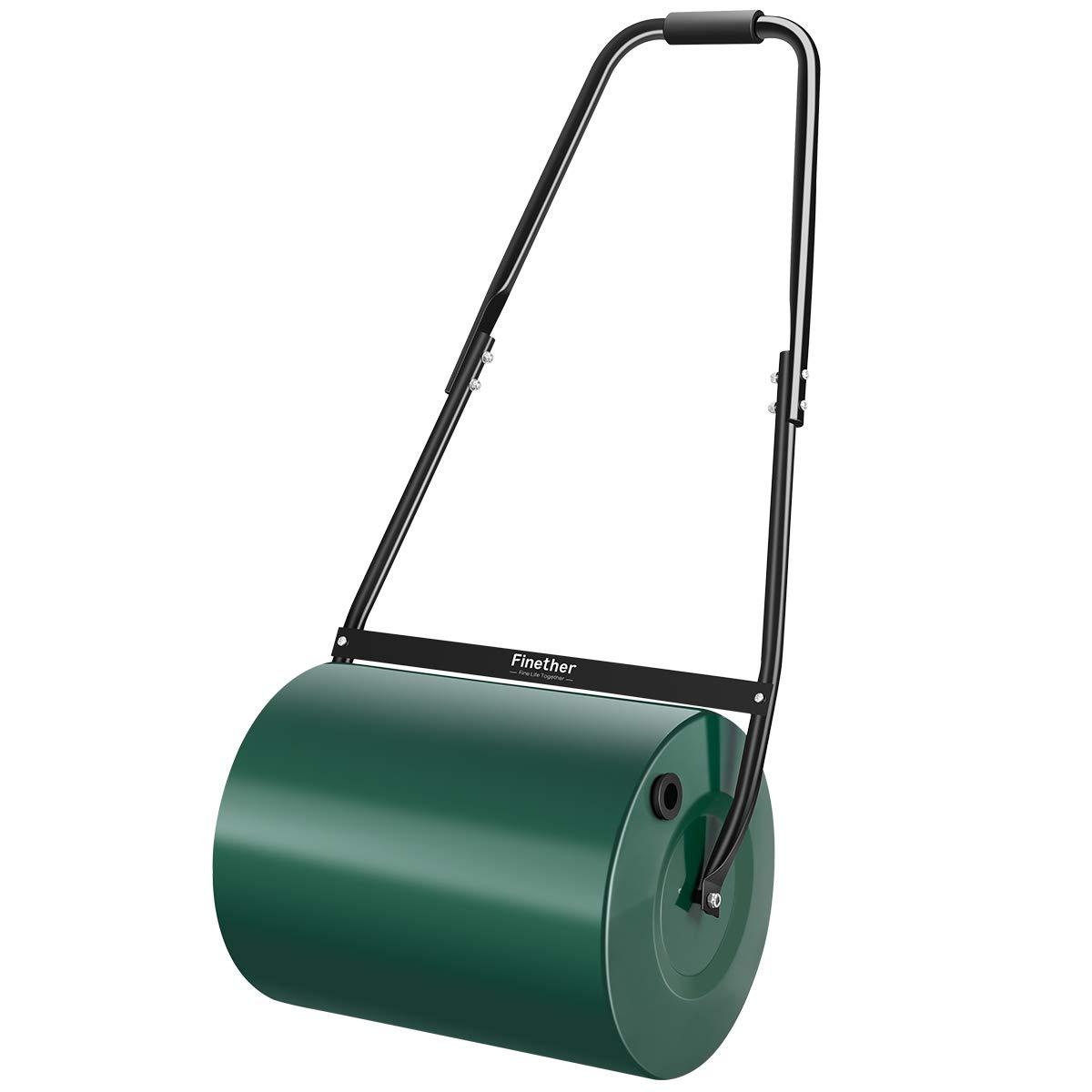 Finether – Rodillo de jardín, rodillo de mano para césped, con limpiacristales, mango plegable, color verde: Amazon.es: Jardín