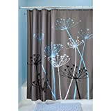 InterDesign Duschvorhang, Distel, Polyester, 183 x 183 cm, Grau / Blau, 2 Stück