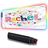 RGB Gaming Mouse Pad, Rachel,Hearts Stars Flowers, Non-Slip Rubber Base USB Computer Mousepad for Gamer,Office and Home, 31.5 x 11.8in