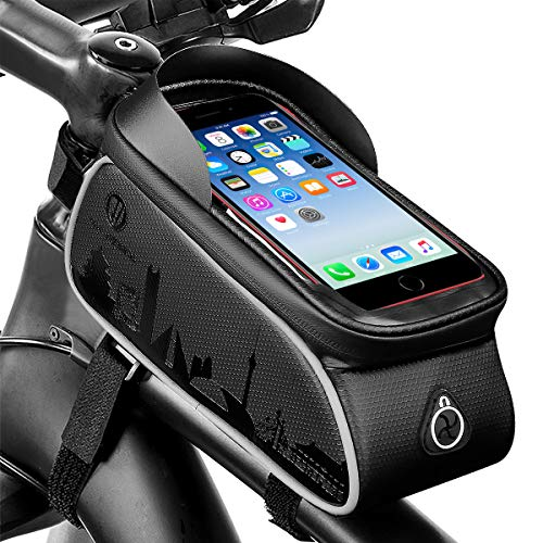 NCONCO Bike Phone Front Frame Bag, with Touch Screen Waterproof MTB Cycling Frame Front Bag Bicycle Phone Holder Storage Bag