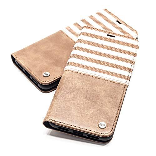 QIOTTI Hülle Kompatibel mit iPhone 11 Ledertasche aus Hochwertigem Leder RFID NFC Schutz mit Kartenfach Standfunktion in (Line Brown)