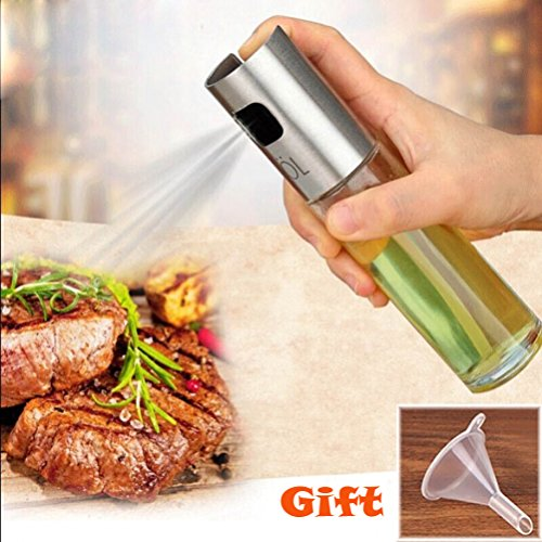 Olio spruzzatore pot, Junnom stainless steel olive Mister oil spray Pump fine Bottle Cooking Roast Bake oil Bottle Tools per pasta, insalate, padelle, grill e barbecue One Pack