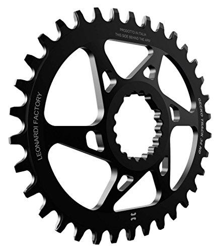 Leonardi Factory Gecko Track Oval Cannondale Offset 6 Plato De Bicicleta, Hombre, Negro, 32