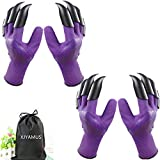 Garden Genie Gloves, Waterproof Garden Gloves with Claw For Digging Planting, Best Gardening Gifts for Women and Men. (Purple-2Pairs)