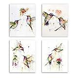 Cuadros de Pared de Pájaros Abstractos, Colibríes de Acuarela y Flores, Póster de...