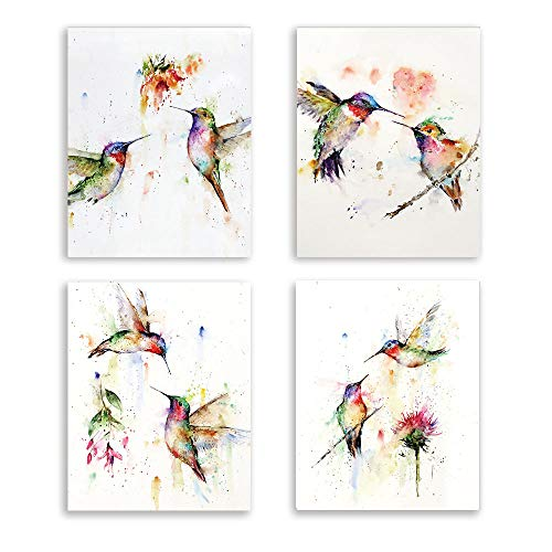 Abstract Birds Art print Watercolor Hummingbirds and Flower Branch Canvas Painting,Set of 4(8'x10') unframed,Nature Wall Art Poster For Living Room Bedroom Office Decoration