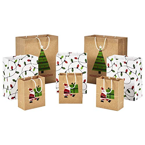 """Hallmark Sustainable Christmas Gift Bags for Kids (8 Bags: 3 Small 6"""", 3 Medium 9"""", 2 Large 13"""") Recyclable Kraft with Santa, Lights and Tree"""