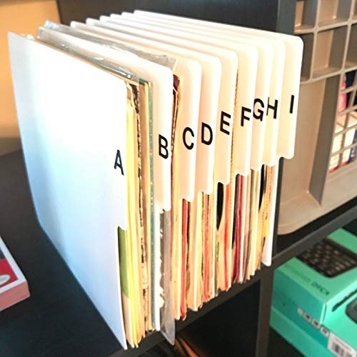 A-Z Vertical 7-inch (7in.) 45 RPM 45s Vinyl Record Index Dividers Organizational/Jukebox Organizers/Organization A to Z Alphabet Alphabetical Cards