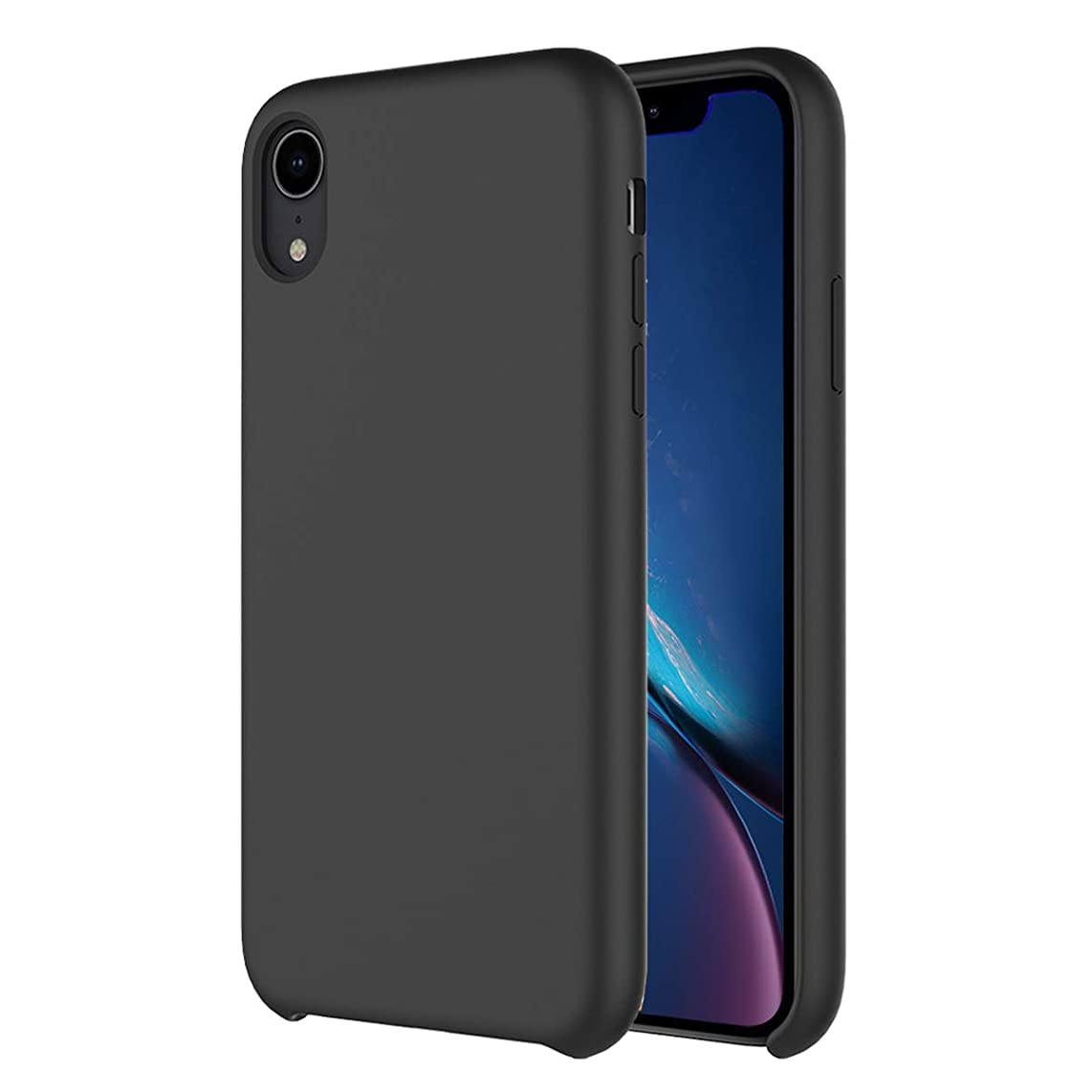 Orzero Liquid Silicone Gel Rubber Case for iPhone XR Full Body Shock Absorbing Ultra Slim Protective [Baby Skin Touch] -Black