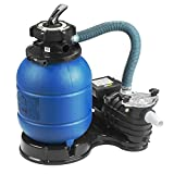 SUNCOO Pro 2450GPH Sand Filter Pump 13 inch Tank Pool Pump for 10000GAL Above Ground Swimming Pools w/Pressure Gauge Sand Pool Filters System