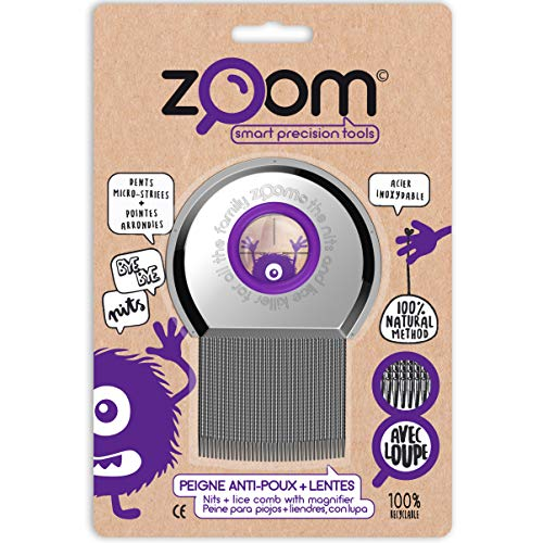 ZOOM Peigne anti-poux et lentes en acier trempé inoxydable, avec loupe. Méthode alternative100% naturelle, pour toute la famille