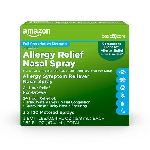 Amazon Basic Care Allergy symptom Reliever nasal spray 3 x 120 metered sprays, 3 bottles/0.54 FL OZ...