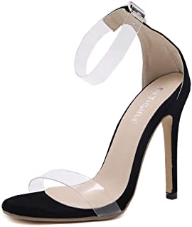 Women's Stiletto Shoes New Summer Open Toe Transparent High Heel Sandals Fashion Suede Sexy Heels Party & Evening Wedding Shoes,Clear,38