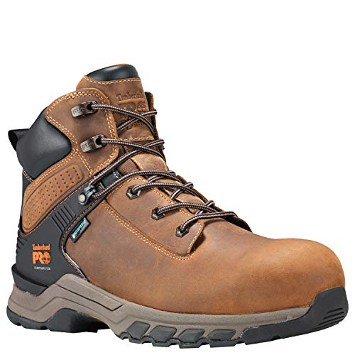 Timberland PRO Men's Hypercharge 6' Composite Toe Waterproof Industrial Boot, Brown Full Grain Leather/Brown, 9.5 M US