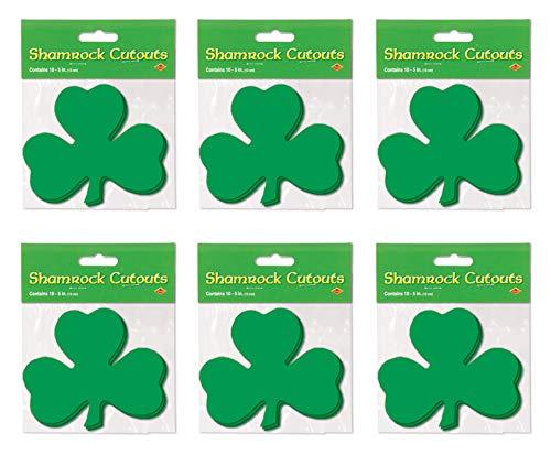 Beistle Printed Shamrock Cutouts 60 Piece, 5', Green
