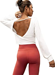 Long-Sleeves High Sexy Open Back Crop Top Cute Work Out Gym Sweatshirt High Neck Loose Yoga Autumn Shirt with Strap