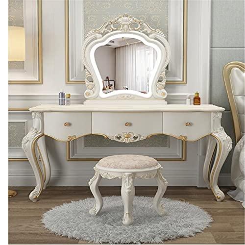 Lzcaure Tocador de estilo europeo y mesa de maquillaje del gabinete de almacenamiento del dormitorio